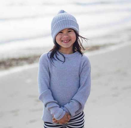Dory Beanie in Silver made from Merino wool.
