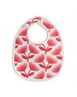 French Terry Bib, Lotus Floral Red & Coral