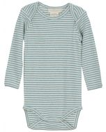 Long Sleeve Bodysuit, Ocean Blue and Off-White Striped