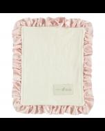 Organic Fleece Lovey, Petal Pink Ruffle Silk Trim