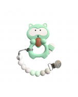 Mint Raccoon Silicone Teether and Holder