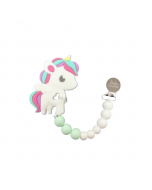 Rainbow Unicorn Silicone Teether with Holder