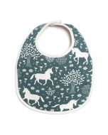 French Terry Bib, Teal Magical Forest