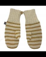 Striped Mittens, White/Mustard