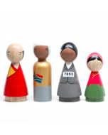 Hand Painted Wooden Peg Dolls, Peace Makers