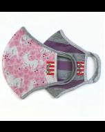 Adult Mask 2 Pack Double Layer Organic Cotton, Pink Unicorn and Purple Stripe