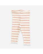 Organic Cotton Striped Ribbed Leggings, Pink and Cream