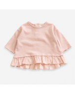 Organic Cotton Sweater with Frill, Pink