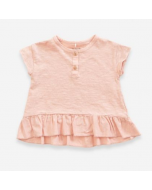 Organic Cotton T-shirt with Frill, Pink