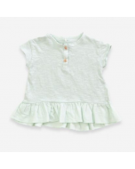 Organic Cotton T-shirt with Frill, Spring Green
