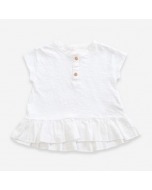 Organic Cotton T-shirt with Frill, White