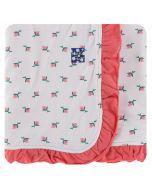 KicKee Pants Ruffle Stroller Blanket Natural Rose Bud