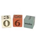 Turquoise, Orange & Cream Baby Age Blocks