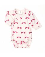 Pink Elephant Long Sleeve Kimono Bodysuit