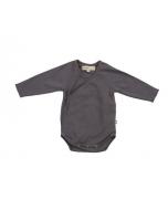 Organic Pima Cotton Kimono Bodysuit, Charcoal