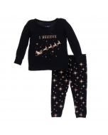 Long Sleeve Pajama Set, Rose Gold Stars