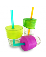 Universal Silicone Straw Tops 3 pack- Lime, Green, and Purple