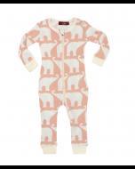 Rose Elephant Organic Cotton Zipper Pajamas