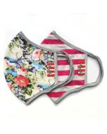 Adult Mask 2 Pack Double Layer Organic Cotton, Summer Floral and Pink Stripe