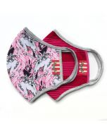 Adult Mask 2 Pack Double Layer Organic Cotton, Winter Unicorn and Vintage Pink Stripe
