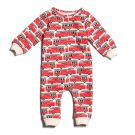 French Terry Jumpsuit, Red Fire Trucks