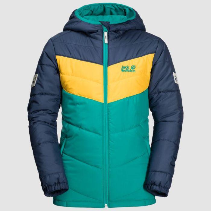 Jack Wolfskin Three Hills Kids Windproof Winter Jacket Green Ocean