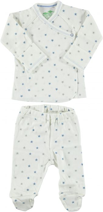 Egyptian Cotton Side Snap Kimono and Footed Pant Layette Set for Baby