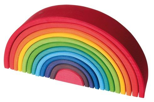 Grimm's Large 12 Piece Stacking Wooden Rainbow