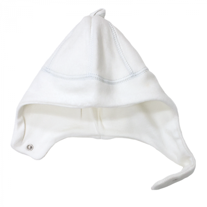 Organic Cotton Sherpa Ear Flap Hat with snap closure